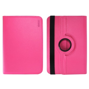 ENKAY Litchi Skin 360 Degree Rotary Leather Shell for 7 inch Tablet - Rose