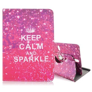 Rotary Leather Stand Cover for Galaxy Tab 3 7.0 / Kindle Fire, Size: 195 x 125mm - Keep Calm and Sparkle