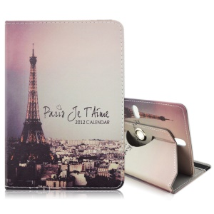 Rotary Leather Stand Case for Galaxy Tab 3 7.0 / Kindle Fire, Size: 195 x 125mm - Eiffel Tower