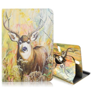 Rotary Leather Flio Cover for Galaxy Tab 3 7.0 / Kindle Fire, Size: 195 x 125mm - Reindeer