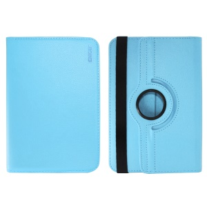 ENKAY Litchi Skin 360 Degree Rotary PU Leather Tablet Case for 8 inch Tablet - Baby Blue