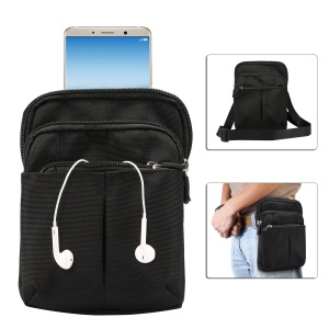 3 Zipper Pockets Men Waist Bag Shoulder Messenger Bag, Max Size: 14x19x3.5cm - Black