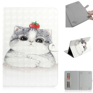 Pattern Printing Universal Leather Wallet Stand Case for 10-inch Tablet PC - White Cat