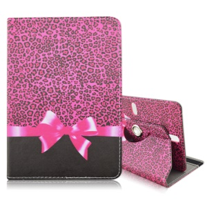 Rotary Universal Leather Shell for iPad Air 2 / Galaxy Note 10.1, Size: 27.5 x 18.5cm - Leopard and Bowknot