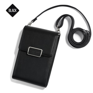 MUSUBO Multi-functional Single Shoulder Wallet Bag Phone Pouch Bag for iPhone Samsung, Size: 17 x 11cm - Black