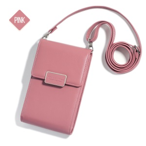 MUSUBO Multi-functional Single Shoulder Wallet Phone Pouch Bag for iPhone Samsung, Size: 17 x 11cm - Pink