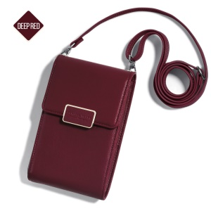MUSUBO Multi-functional Single Shoulder Wallet Bag Phone Bag for iPhone Samsung, Size: 17 x 11cm - Wine Red