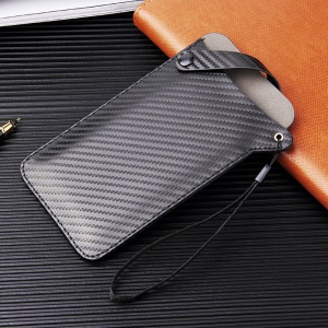 Size L: 175 x 100mm Universal PU Leather Mobile Phone Pouch for 5-6.5 inch Mobile Phones - Black Carbon Fiber