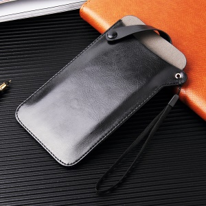 Size L: 175 x 100mm Universal PU Leather Protection Cover Pouch for 5-6.5 inch Mobile Phones - Black