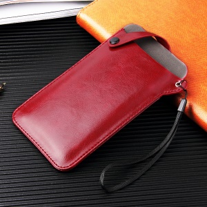Universal PU Leather Pouch Cover for 4-5.8 inch Smartphones, Size S: 165 x 90mm - Red