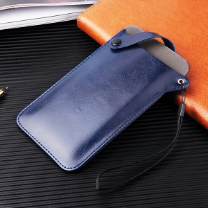 Universal PU Leather Protection Phone Pouch for 4-5.8 inch Smartphones, Size S: 165 x 90mm - Blue