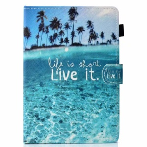 Pattern Printing Universal PU Leather Tablet Cover with Card Slots for Samsung Galaxy Tab A 8.0 (2018) Etc. - Life Is Short Live It