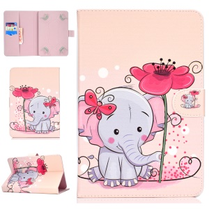 Universal Patterned Leather Tablet Cover for iPad 9.7-inch/Galaxy Tab S2 9.7 - Elephant Holding Flower