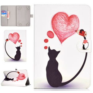 Universal Patterned Leather Wallet Flip Cover for iPad 9.7-inch/Galaxy Tab S2 9.7 - Cat Painting Heart