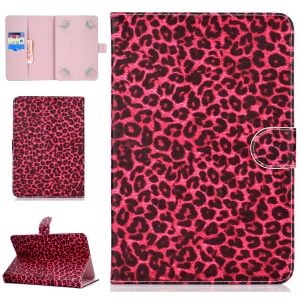 Universal Patterned Leather Wallet Protective Shell for iPad 9.7-inch/Galaxy Tab S2 9.7 - Rose Leopard Texture