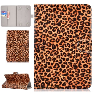 Universal Patterned Leather Stand Protection Casing for iPad 9.7-inch/Galaxy Tab S2 9.7 - Brown Leopard Texture