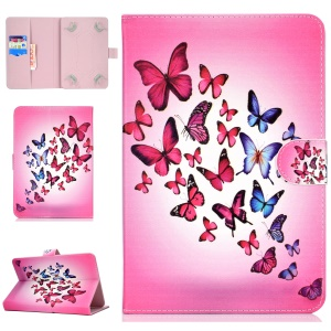 Universal Patterned Leather Stand Protective Casing for iPad 9.7-inch/Galaxy Tab S2 9.7 - Flying Butterflies