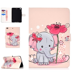 Pattern Printing Magnetic Leather Tablet Shell for iPad Mini 4 / 3 / 2 / 1 - Elephant and Butterfly
