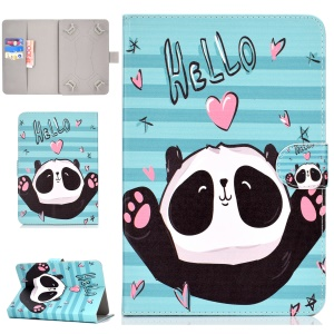 Universal Patterned Leather Wallet Case for iPad mini 5 / Galaxy Tab A 8.0 (2018) - Hello Panda