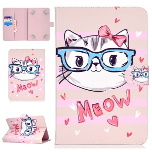 Universal Patterned Leather Stand Cover for iPad mini 5 / Galaxy Tab A 8.0 (2018) - Lovely Cat