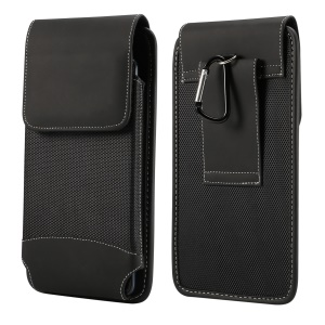 6.5 inch Universal Wear-resistant Oxford Cloth Phone Case Pouch with Belt Clip for iPhone Samsung Huawei Etc. - Black
