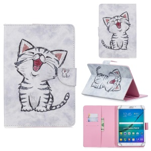 10-inch Universal Patterned Leather Wallet Case for iPad 9.7-inch/Galaxy Tab S2 9.7 Etc - Laughing Cat