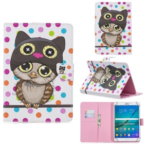 10-inch Universal Patterned Leather Wallet Case for iPad 9.7-inch/Galaxy Tab S2 9.7 Etc - Cute Owl