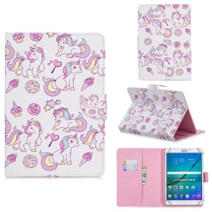 10-inch Universal Patterned Leather Wallet Case for iPad 9.7-inch/Galaxy Tab S2 9.7 Etc - Unicorn and Star