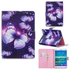 Universal Patterned PU Leather Stand Flip Case for 8-inch Tablet PC - Purple Butterfly