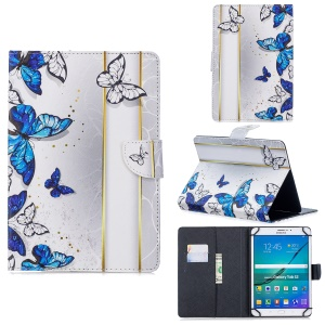 Universal Patterned PU Leather Stand Protection Cover for 8-inch Tablet PC - Blue Butterflies