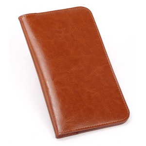 Large Capacity Universal Mobile Phone Case Split Leather Wallet Case for iPhone Samsung Huawei Etc. - Light Brown