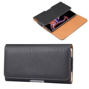 6.3 inch Horizontal Universal Phone Case Litchi Skin PU Leather Cover Shell with Belt Clip for Men, Size: 17 x 8.2 x 1.8cm - Black