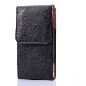 6.3 inch Universal Case Litchi Skin PU Leather Phone Pouch Case with Belt Clip for Men, Size: 16.5 x 8.3 x 1.8cm - Black