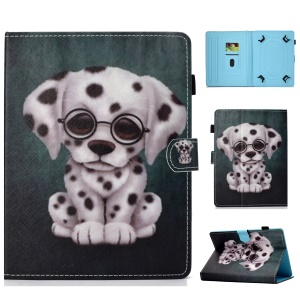 10 inch Patterned Universal PU Leather Card Holder Tablet Case Cover for iPad 9.7 (2018) / Lenovo Tab 4 10 Plus - Dog