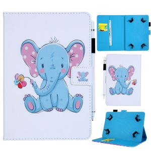 10-inch Universal Patterned Leather Wallet Case for iPad 9.7-inch/Galaxy Tab S2 9.7 Etc - Elephant