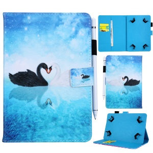 Universal 8-inch Patterned PU Leather Wallet Protective Case for Tablet PC - Swans