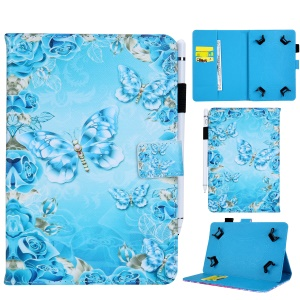 Universal 8-inch Patterned PU Leather Wallet Protective Case for Tablet PC - Butterflies