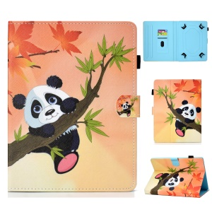 Universal 10-inch Patterned Tablet PU Leather Card Holder Case for iPad 9.7 (2018) / Samsung Tab S3 9.7 etc - Panda on the Tree