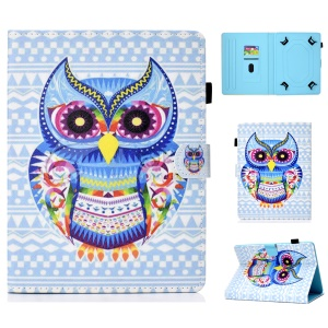 Universal 10-inch Patterned Tablet PU Leather Card Holder Case for iPad 9.7 (2018) / Samsung Tab S3 9.7 etc - Stylish Owl
