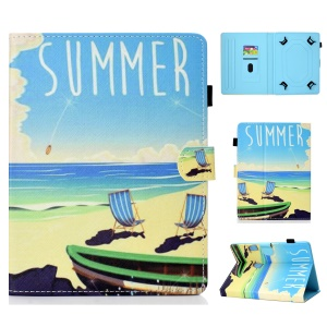 Universal 7-inch Patterned Tablet PU Leather Card Holder Case for Galaxy Tab A 7.0 / Lenovo Tab3 7 Plus etc - Summer Beach