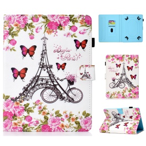 Universal Patterned 8-inch PU Leather Stand Tablet Case for Huawei MediaPad T3 8.0 / iPad mini 5 etc - Eiffel Tower and Flower