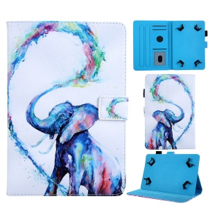 Universal 10-inch Animal Patterned Tablet PU Leather Card Holder Case for iPad 9.7 (2018) / Samsung Tab S3 9.7 etc - Elephant