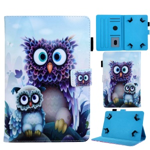 Universal 10-inch Animal Patterned Tablet PU Leather Card Holder Case for iPad 9.7 (2018) / Samsung Tab S3 9.7 etc - Owls