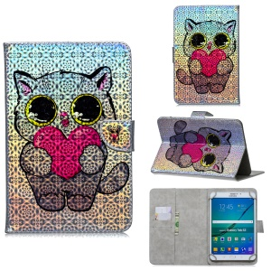 Universal 10-inch Patterned Tablet PU Leather Card Holder Case for iPad 9.7 (2018) / Lenovo Tab 4 10 Plus - Cat with Heart