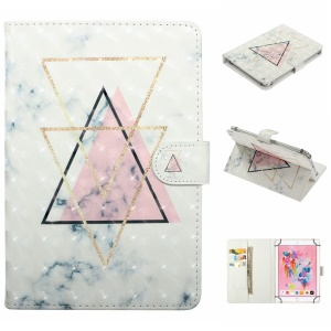 Embossed Cartoon Pattern Leather Wallet Smart Case for 10-inch Tablet PC - Inverted Triangle