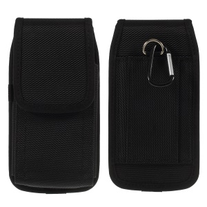 Universal 5.2 Inch Wear-resistant Oxford Cloth Waist Bag with Hook for Smart Phone - Black
