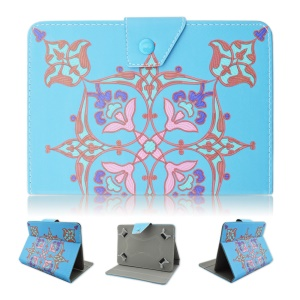 PU Leather Case Cover for Samsung Tab E 9.6 / iPad Air 2, Size: 265 x 177mm - Ethnic Flowers