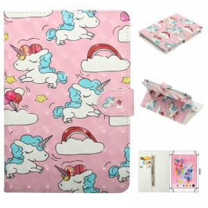 Embossment Patterned  Light Spot Decor Leather Cover for 7 inch Tablet - Cloud and Unicorn