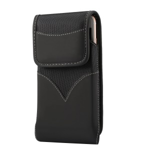 Universal 5.5-6.3 Inch Wear-resistant Oxford Cloth Phone Pouch Waist Bag with Rotating Belt Clip for Samsung Galaxy S10 Plus Etc - Black