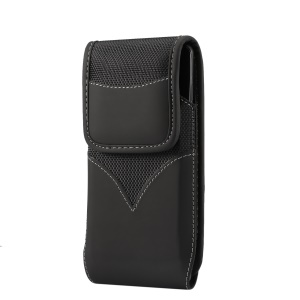 Universal Wear-resistant Oxford Cloth Phone Pouch Rotating Belt Clip Waist Bag for 4.7-5.3 Inch Smartphones - Black